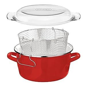 Premier Housewares 16 X 33 X 27 cm 5 L Deep Fryer with Pyrex Lid, Red