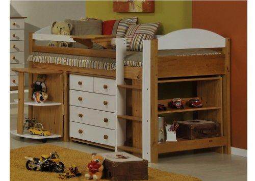 ensemble lit mezzanine mi haut de la collection maximus pin massif coloris au choix sewo shops. Black Bedroom Furniture Sets. Home Design Ideas