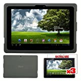 Premium 3 Packs of Anti-Glare Screen Protector + Smoke Silicone Cover Case for Asus Eee Pad Transformer TF101 By Skque