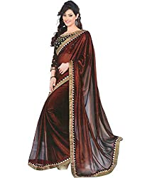 Om Shantam Sarees Women's Georgette Saree with Blouse (Om7star_Brawn and Black)