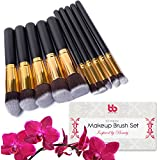 Professional Makeup Brushes, 10 Piece Set, Vegan, With Plastic Handles, Great For Applying Concealers, Foundations... - B01CF3QJ9A
