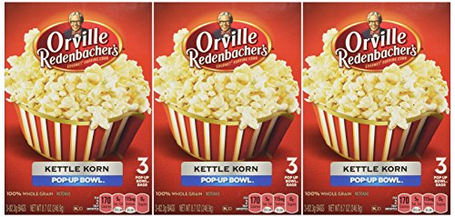 Orville Redenbacher's Gourmet Microwave Popcorn in Pop Up Bowl, Kettle Korn, 3 Count (Pack of 3) 100% whole grain Healthy Snack flavored popcorn for Movie Night No Hydrogenated oil low Sodium No sugar Gluten free Kettle Corn (Orville Redenbacher Popcorn Salty compare prices)