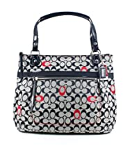 Hot Sale Coach Poppy Embroidery Signature C Glamour Tote Handbag 21184 Black White Red