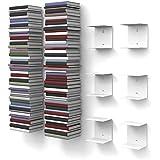 6 weiße unsichtbare Bücherregale mit 12 Fächern bis zu 300 cm hohen Bücherstapel für Bücher bis zu 22 cm Tiefe.