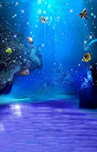 Blue Underwater Sea Animal Fish Photography Backdrop Photo Background Beautiful Flower Vinyl 98.4 IN (W)*59 IN (H) 1.5*2.1M
