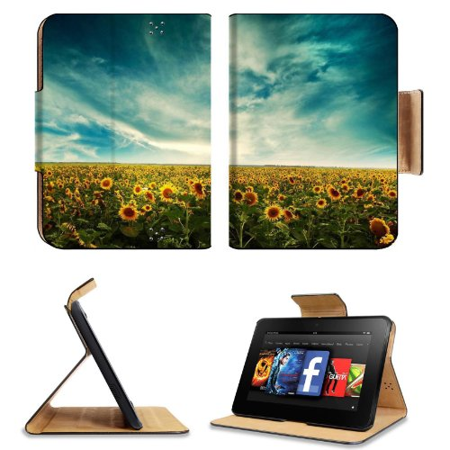 Sunflowers Field Sky Clouds Yellow Summer Amazon Kindle Fire Hd 7 [2012 Version Only September 14, 2012] Flip Case Stand Magnetic Cover Open Ports Customized Made To Order Support Ready Premium Deluxe Pu Leather 7 11/16 Inch (195Mm) X 5 11/16 Inch (145Mm) front-950110