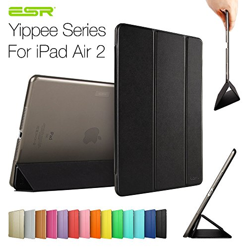 Ipad Air 2 Case,Esr Yippee Color Series Smart Cover+Transparent Back Cover [Ultra Slim] [Light Weight] [Scratch-Resistant Lining] [Perfect Fit] [Auto Wake Up/Sleep Function] For[2014 Release] Ipad Air 2 Cover (Mysterious Black)