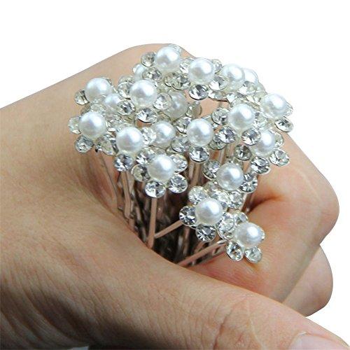 Pixnor Bridal Wedding Hair Pins Prom Faux Small Pearl Rhinestone Crystal Flower Hair Styling U Pins 10 pcs (Small Crystal Hair Pin compare prices)