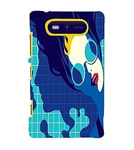 PrintVisa Fashion Swimming Girl Design 3D Hard Polycarbonate Designer Back Case Cover for Nokia Lumia 820