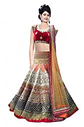 Georgette and Velevt Party Wear Lehenga Choli in Red Colour