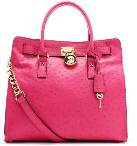 Michael Kors Hamilton Ostrich Embossed Leather Large NS Tote Purse Bag Satchel in Zinnia Pink