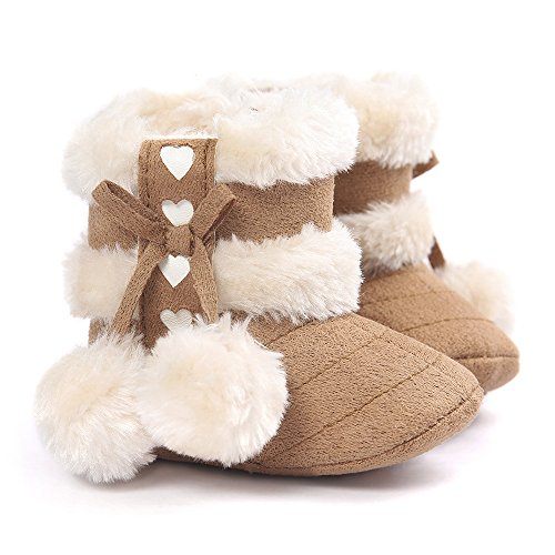 Voberry® Baby Toddler Girls Knit Soft Winter Warm Snow Boot Fur Trimmed Pom Pom Boots (12~18M, Khaki)