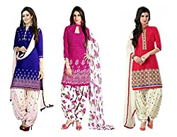 Fashion Dream Women's Printed Unstitched Regular Wear Salwar Suit Dress Material (Combo pack of 3)