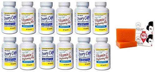(Ivory Caps Skin Whitening Lightening 1500mg Glutathione Support Pill + Vitamin C Brightening Plus) + 1 Kojie San Skin Lightening Kojic Acid Soap 2 Ba…