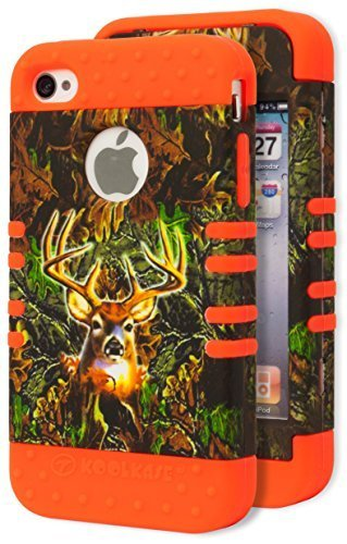 iPhone 4 Phone Case, Bastex Heavy Duty Hybrid Protective Soft Neon Orange Silicone Cover Deer Camo Design Hard Case for Apple iPhone 4, 4S, 4GS (Camo Iphone 4 Covers compare prices)