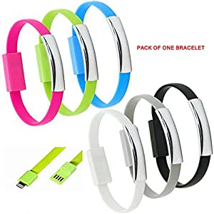 Eye-catching Bendy & Durable Short Micro USB Data Charging Sync Cable . New Design 2015 for Power Banks. Innovative data charging cable for simple to use or as Gift. Data Sync Charger Bracelet For iPhone 6 Plus and Compatible with iOS 8( Pack of One in any color )