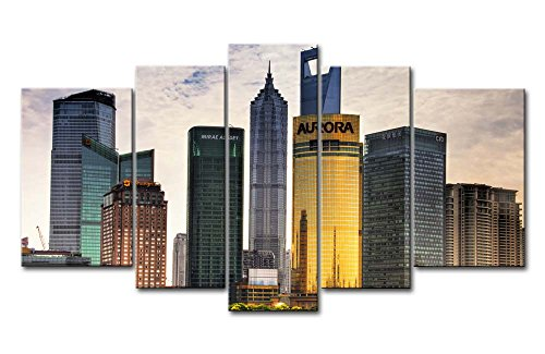 5 Piece Wall Art Painting Shanghai High-Rise Buildings Prints On Canvas The Picture City Pictures Oil For Home Modern Decoration Print Decor For Bedroom
