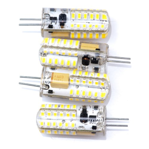 Topluck 4Pcs G4 Base 48 Led Light Bulb Lamp 3 Watt Ac Dc 12V /10V-24V Warm White Undimmable Equivalent To 20W Incandescent Bulb Replacement