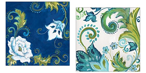 Beautiful Lime Green, Blue and Teal Floral Patterned Print Set by Tre Sorelle Studios; Two 12x12in Paper Posters