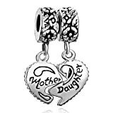 Silver Plated Pugster Mother Daughter Heart Charm Bead Fits Pandora Bracelet