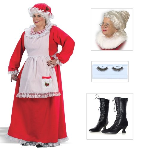 Mrs. Claus Plus Adult Costume with Wig, Boots Size 6 & Eyelashes