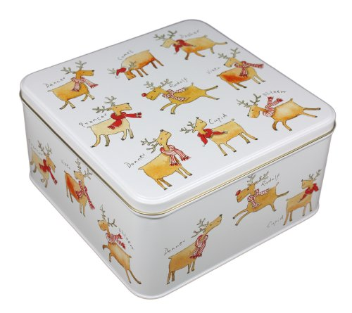 Kate Mawdsley Square Christmas Reindeer Storage Tin