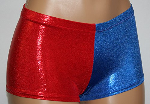 Dilly Duds Harley Quinn Cosplay Mid-rise Booty Shorts. Red and Blue Mini-dot.