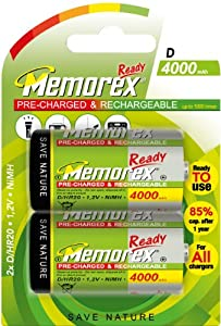 Memorex Ready Pre-Charged Rechargeable D Size 4000mAH Batteries Pack of 2 HR14