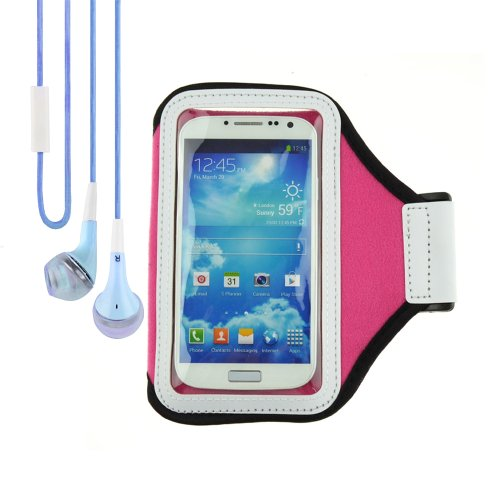 Rose Sports Armband Gym Band Case Compatible With Htc One / Smartphone + Vangoddy Headphone With Mic , Blue
