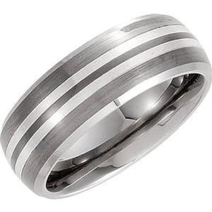 Tungsten Carbide Silver, Silver Inlay Satin Domed Wedding Band Bevel Edge (sz 10)