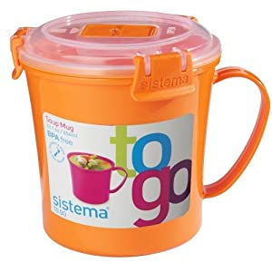 Amazon.com | Sistema Microwave Soup to Go Mug Orange: Coffee Cups