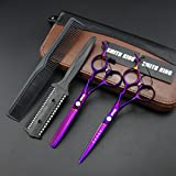 6.0 Inches Hair Cutting Scissors Set with Combs Lether Scissors Case,Hair cutting shears Hair Thinning shears For Personal and Professional (Voilet)