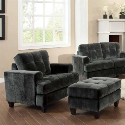 Coaster Hurley Tufted Chair and Ottoman Set in Charcoal Velvet