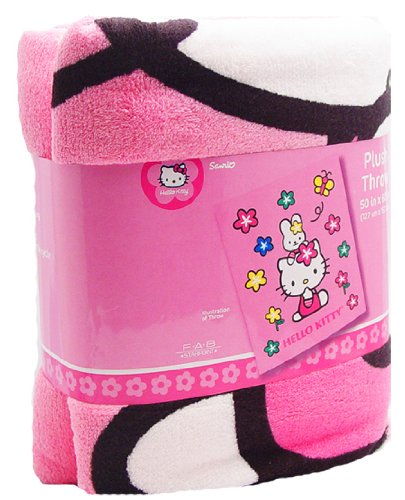 Sanrio Hello Kitty Large Pink Blanket with Multicolored Flowers