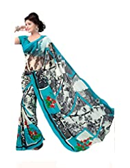 ANSS Elegant Designer Faux Georgette Saree With Floral Print - Blue - B00P3I6T4K