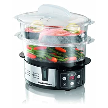 Hamilton Beach Digital Steamer. Satisfying many different tastes at dinnertime is easy with this versatile Food Steamer. It has two separate steaming tiers with a removable divider to fit (almost) anything.