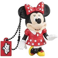 Tribe FD019402 Disney Pendrive 8 GB Simpatiche Chiavette USB Flash Drive 2.0 Memory Stick Archiviazione Dati, Portachiavi, Minnie Mouse (Topolina) Rosso