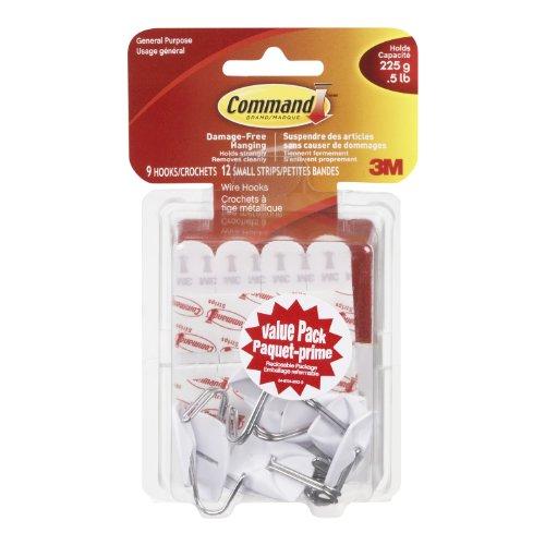 Command Small Utensil Hook Value Pack, 0.5 lb Capacity, 9 Hooks 12 Small Strips, (17067C-VP)