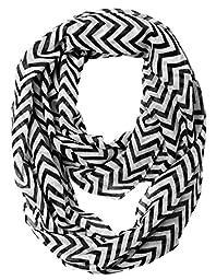 Caramel Cantina Soft Chevron Sheer Infinity Scarf (Black/White)