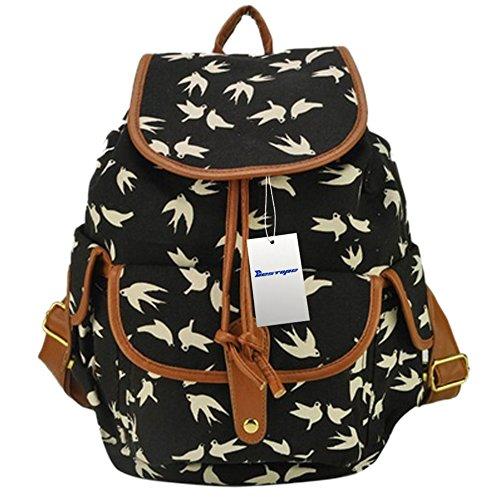 BESTOPE® High Quality & Brand New Vintage Retro Floral Ladies Canvas Bag /School Bag/Backpack (A-Black) image
