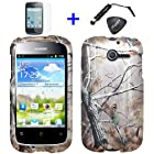 4 items Combo: ITUFFY LCD Screen Protector Film + Mini Stylus Pen + Case Opener + Pine Tree Leaves Camouflage Outdoor Wildlife Design Rubberized Snap on Hard Shell Cover Faceplate Skin Phone Case for Huawei Ascend Y M866/ H866 / H866C (Straight Talk / U.S.Cellular)
