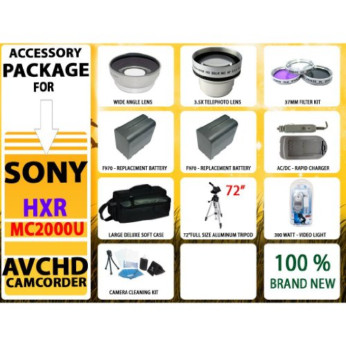 Advanced Accessory Kit for Sony Hxr-mc2000u Shoulder Mount Avchd Camcorder Including Wide Angle Lens, 3.5x Telephoto Lens, 2x-extended Replacement Life Batteries, Deluxe Large Soft Case, 72 Inch Tripod & Much More!!