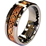 18K Rose Gold Plated Celtic Dragon 8mm Wide Tungsten Carbide Wedding Band Ring