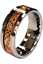 18K Rose Gold Plated Celtic Dragon 8mm Wide Original Stamped Tungsten Carbide Wedding Band Ring By Cohro Design