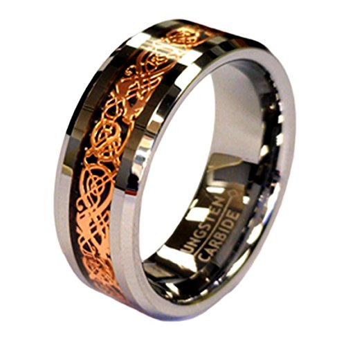 Rose Gold Celtic Dragon 8mm Tungsten Unisex Wedding Band Ring CJTU534-10