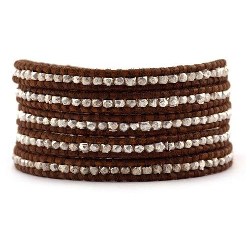 Chan LuuChan Luu Silver Nugget Wrap Bracelet on Brown Leather