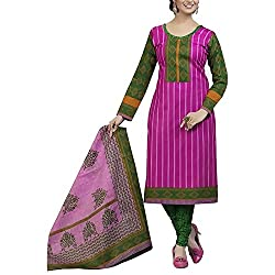 Varsha Women Cotton Dress Material (Varsha711 _Pink)