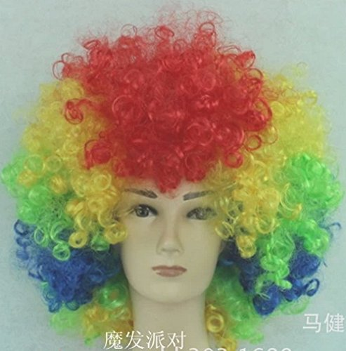 Short Curly Party Wig Halloween Soccer Fans Full Wig
