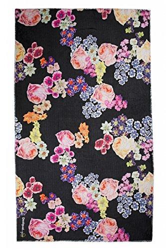 Desigual Foulard Balck Flower Soft Sciarpa para Donna, negro (nero) 61W5LA0-2000