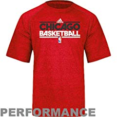 NBA adidas Chicago Bulls On-Court Practice Performance T-Shirt - Heathered Red by adidas